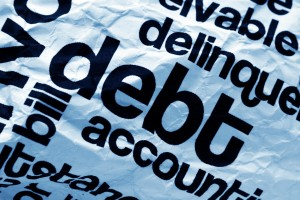 Debt text on paper