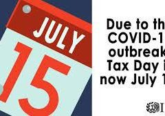 Tax Day now July 15, 2020.